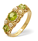 Peridot 1.3CT And Pearl 9K Yellow Gold Ring