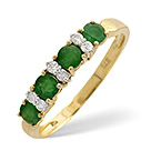 EMERALD 0.61CT AND DIAMOND 9K GOLD RING