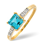 Blue Topaz 0.78CT And Diamond 9K Yellow Gold Ring