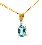 Blue Topaz 0.50CT And Diamond 9K Yellow Gold Pendant
