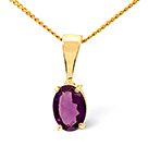 Gem-Stone Pendant Amethyst 9K Yellow Gold