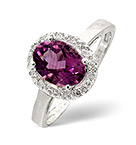 AMETHYST 1.12CT AND DIAMOND 9K WHITE GOLD RING