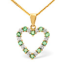 Emerald 0.54CT And Diamond 9K Yellow Gold Pendant