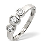 Trilogy Ring 0.16CT Diamond 9K White Gold