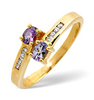 TANZANITE 0.30CT AND DIAMOND 9K GOLD RING