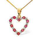 Ruby 0.68CT And Diamond 9K Yellow Gold Pendant