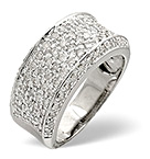 PAVE RING 0.94CT DIAMOND 9K WHITE GOLD