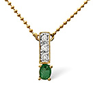 EMERALD 0.17CT AND DIAMOND 9K YELLOW GOLD NECKLACE