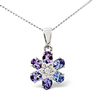 Tanzanite 0.97CT And Diamond 9K White Gold Pendant