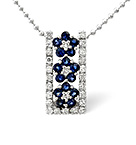 Sapphire And 0.17CT Diamond Necklace 9K White Gold