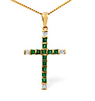 EMERALD 0.44CT AND DIAMOND 9K YELLOW GOLD PENDANT