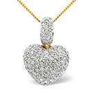 HEART PENDANT 1.20CT DIAMOND 9K YELLOW GOLD
