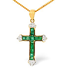 Emerald 0.50CT And Diamond 9K Yellow Gold Pendant
