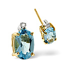 Blue Topaz 0.92CT And Diamond 9K Yellow Gold Earrings