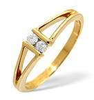 2 STONES RING 0.08CT DIAMOND 9K YELLOW GOLD