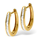 Hoop Earrings 0.40CT Diamond 9K Yellow Gold