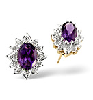 Amethyst 6 x 4mm And Diamond 9K Yellow Gold Earrings