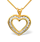 HEART PENDANT 0.50CT DIAMOND 9K YELLOW GOLD