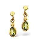 Peridot 5 x 3mm 9K Yellow Gold Earrings
