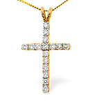 CROSS PENDANT 0.50CT DIAMOND 9K YELLOW GOLD