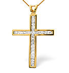 Cross Pendant 1.00CT Diamond 9K Yellow Gold W24 x L36mm