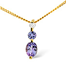 TANZANITE 0.44CT AND DIAMOND 9K YELLOW GOLD PENDANT