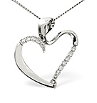 HEART PENDANT 0.15CT DIAMOND 18K WHITE GOLD