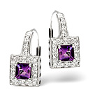 Amethyst & 0.18CT Diamond Earrings 9K White Gold