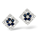 Sapphire 0.22CT And Diamond 9K White Gold Earrings