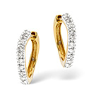 Hoop Earrings 0.16CT Diamond 9K Yellow Gold