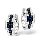Sapphire 1.17CT And Diamond 9K White Gold Earrings