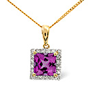 AMETHYST 1.55CT AND DIAMOND 9K YELLOW GOLD PENDANT