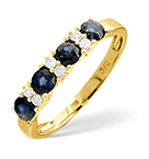 SAPPHIRE 0.83CT AND DIAMOND 9K GOLD RING