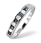 SAPPHIRE 0.40CT AND DIAMOND 9K WHITE GOLD RING
