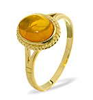 AMBER 9 X 7MM 9K GOLD RING