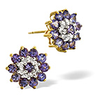 TANZANITE 0.25CT AND DIAMOND 9K YELLOW GOLD EARRINGS