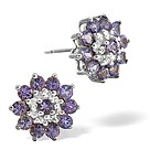 TANZANITE 0.52CT AND DIAMOND 9K WHITE GOLD EARRINGS