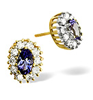 TANZANITE 5 X 3MM AND DIAMOND 9K YELLOW GOLD EARRINGS