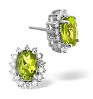 9K WHITE GOLD DIAMOND AND PERIDOT EARRINGS 0.27CT