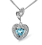 Blue Topaz 0.48CT And Diamond 9K White Gold Pendant