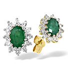 EMERALD 6 X 4MM AND DIAMOND 9K YELLOW GOLD EARRINGS