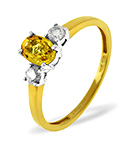 Yellow Sapphire 6 x 4mm And Diamond 18K Gold Ring