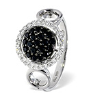 BLACK DIAMOND 0.33CT AND DIAMOND 18K WHITE GOLD RING