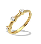 9K GOLD DIAMOND THREE STONE RUBOVER RING (0.05CT)