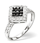 BLACK DIAMOND 0.20CT AND DIAMOND 9K WHITE GOLD RING