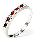 Ruby 0.22ct And Diamond 9K White Gold Ring