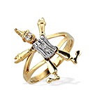 9K GOLD DIAMOND CLOWN RING WITH MOVING ARMS AND LEGS