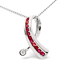 Ruby 0.33CT And Diamond 18K White Gold Pendant