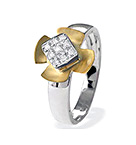 9K TWO TONE DIAMOND FLOWER DETAIL RING (0.06CT)