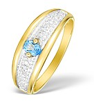 9K GOLD DIAMOND AND BLUE TOPAZ PAVE SET RING - E4087